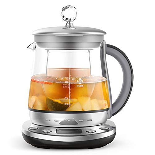 Lay Health Pot,1.5L Multifunction Kettle,All Glass Health Pot Glass Bottom 1.5L Anti-Stick Bottom for Home Office with Stew by Lay