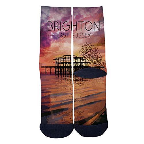Mens Womens Casual Brighton Beach Poster Sunset West Pier East Sussex Socks Crazy Custom Socks Creative Personality Crew Socks Black]()