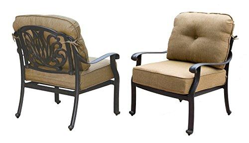 Darlee Elisabeth Cast Aluminum Club Chair with Seat and Back Cushion, Set (Cast Aluminum Club Chair)