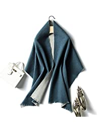 YUANZ Home Scarf Female Double-Sided Plaid Autumn and Winter Solid Color Shawl Dual-use Long Thick Scarf Korean Version of Wild (Color : Blue, Size : 200CM)