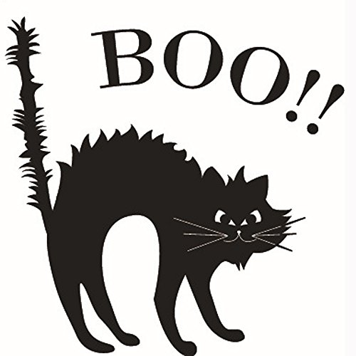 Leyorie Halloween Wall Sticker,Black Cat Pattern Letter BOO Wallpaper TV Background Wall Mural Decor for Door Home Party (A) ()
