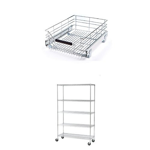 Seville Classics 5-Tier UltraZinc NSF Steel Wire Shelving /w Wheels, 18'' D x 48'' W x 72'' H &  Seville Classics Pull-Out Sliding Steel Wire Cabinet Organizer Drawer, 14'' W x 17.75''D x 6.3'' by
