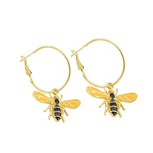 choice of all Hnadmade Insect Fly Cute Lovely Bird Honey Bumble Bee Stud Earrings for Woman Vintage Animal Silver Gold Jewelry (I:bee Hoop) ()