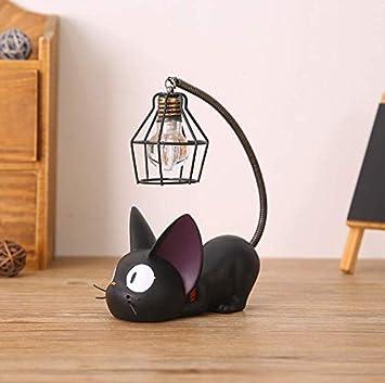 Vvciic Mini linda de la noche del gato Negro luz de escritorio de figuras de resina Miniatures Inicio decoración del dormitorio de la jaula Forma: ...