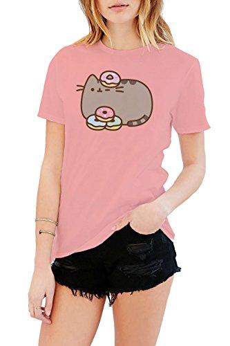 Cat Womens T-shirt Pink - Pusheen The Cat Donuts Juniors Pink T-shirt L