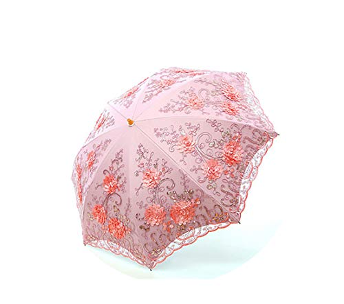 Lace Flower Folding Umbrellas Folding Uv Rainy Umbrella Embroider Pink Flower Print Pocket Umbrella,Two-Folding 1