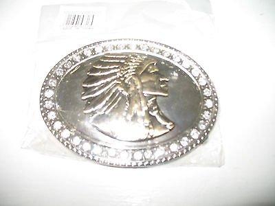 (Gold Silver Diamonds Pewter Indian Cherokee Apache Belt Buckle)