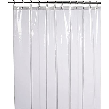 LiBa Mildew Resistant Anti Bacterial PEVA 8G Shower Curtain Liner, 72x72  Clear   Non