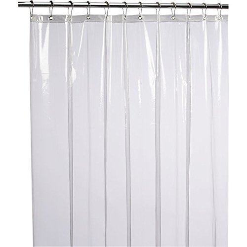 LiBa Mildew Resistant Anti-Bacterial PEVA 8G Shower Curtain Liner, 72x72 Clear