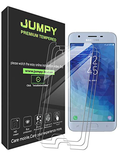 [3-Pack] Galaxy J3 2018 Screen Protector, JUMPY 9H Hardness Premium Tempered Glass with Lifetime Replacement Warranty for Samsung Galaxy J3 2018
