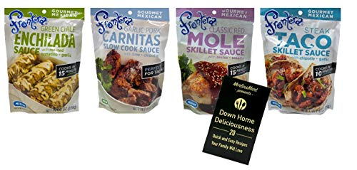 Frontera Gourmet Mexican Simmer Sauce 4 Flavor Variety Plus Recipe Booklet Bundle, 1 each: Green Enchilada, Steak Taco, Classic Red Chile Mole, Garlic Pork Carnitas, 8 Oz. Ea. (4 Pouches Total) (Best Green Enchilada Sauce Recipe)