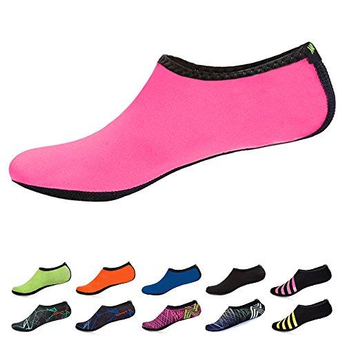 WONZOM FASHION Frauen Barfuß Wasserhaut Schuhe Quick-Dry Aqua Socken für Beach Pool Schwimmen Dive Surf Yoga Rosa