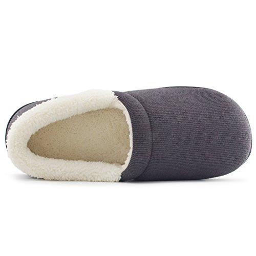 Comfortabele Damessweater Van Katoen, Traagschuim Van Memoryfoam, Met Binnenshuis, Buitenzool Grijs
