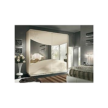 esteamobili armoire portes coulissantes miroir laqu beige comme photos bois massif comme photos - Armoire Portes Coulissantes Miroir