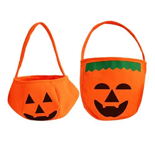 Toyvian 6pcs Halloween Trick or Treat Candy Handbags, Non-Woven Fabric Children Gift Bags (3pcs Lantern Pumpkin Bags + 3pcs Green Pumpkin Bags) -