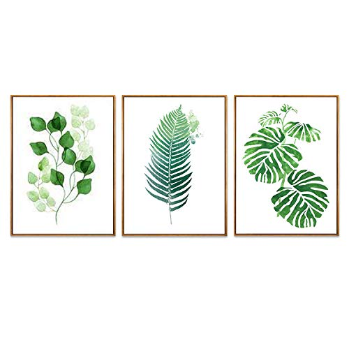 Hepix Canvas Wall Art for Living Room Bedroom 3 Panels Tropic Plam Wall Paintings Green Plants Decorative Wall Pictures for Home Decor 13x17inch (Framed) ()