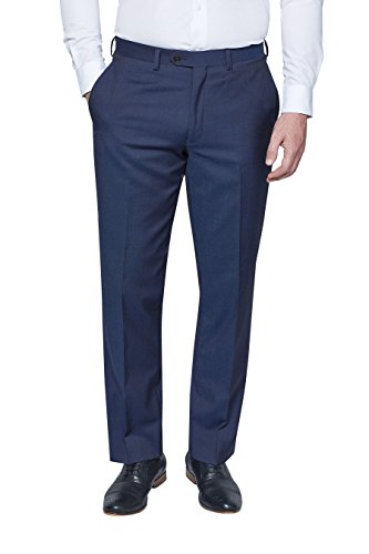 next Homme Costume en laine italienne : Pantalon Bleu 34 / Long - Regular Fit