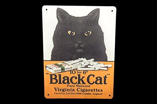 Global Art World Black Cat Purely Matured Cigarette Enamel Advertising Metal Sign Board HB ()