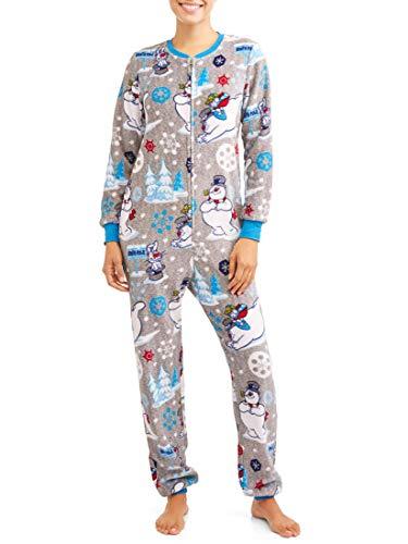 Frosty the Snowman Women's Christmas Union Suit Pajamas (X-Small 0-2, Gray Heather)