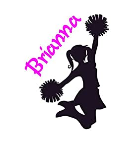Vinyl Wall Cheerleader Wall Decal Girls Bedroom Personalized Room Decor Team Cheer Decal Teen Room Child Kid Name Sports Wall Words Mural (22 X 30 inches)