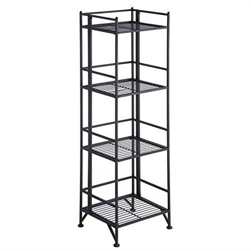 Convenience Concepts 8017B Designs2Go X-Tra Storage 4-Tier Folding Metal Shelf, Black ()