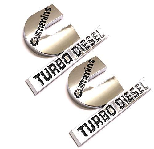 2pcs (small size) Cummins Turbo Diesel Emblems,3D Badge High Output Replacement for RAM 2500 3500 Fender Emblem Glossy Chrome Black