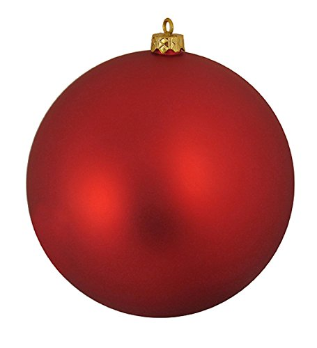 Matte Ball - Northlight Matte Red Hot UV Resistant Commercial Shatterproof Christmas Ball Ornament, 6