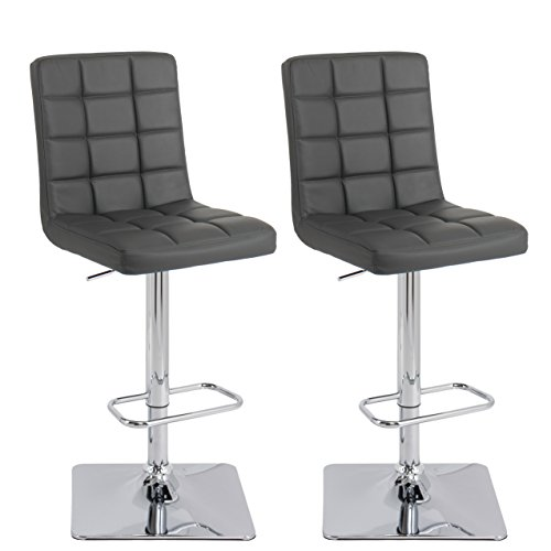 Adjustable Bonded Leather Barstool Dark Grey Set of 2 - CorLiving