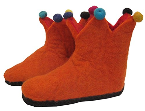 Hand Felted Wool Jester Slippers with Leather Sole - Certified Fair Trade (11 - 12, Orange) (Jester Shoes)
