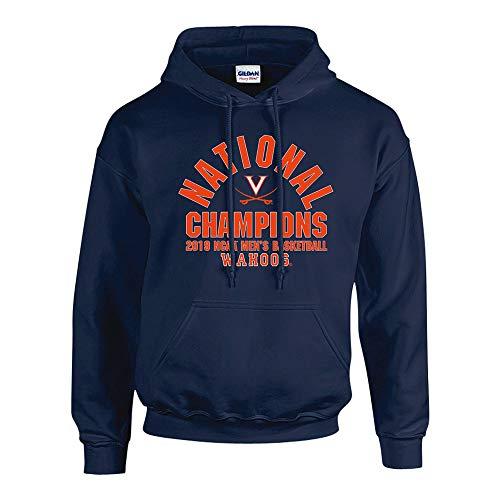 Basketball Hooded (Elite Fan Shop UVA Virginia Cavaliers National Basketball Championship Hooded Sweatshirt 2019 Arch Navy - L)