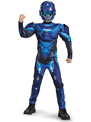 [Disguise Blue Spartan Classic Muscle Halo Microsoft Costume, Medium/7-8] (Aliens Costume)
