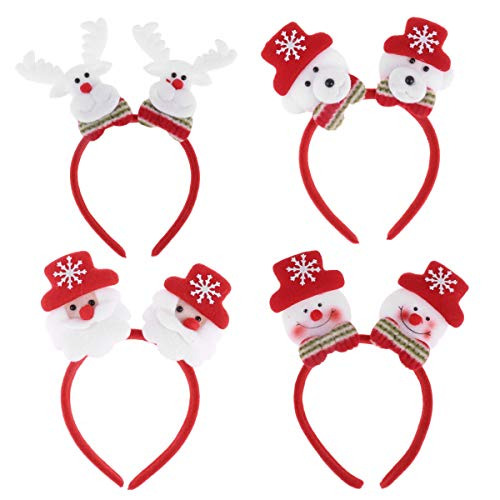 IEFIEL Pack of 4 Christmas Luminous Headband LED Glow Light up Hair Hoop Headwear (Snowman+Santa+Bear+Reindeer)