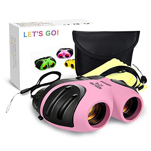 Gifts for 3-12 Year Old Girls, Kids Binoculars for Outdoor Easter Toys for 3-12 Year Old Girls Easter Christmas Xmas Stocking Stuffers Fillers Gifts for Kids Teen Girls Pink DL09