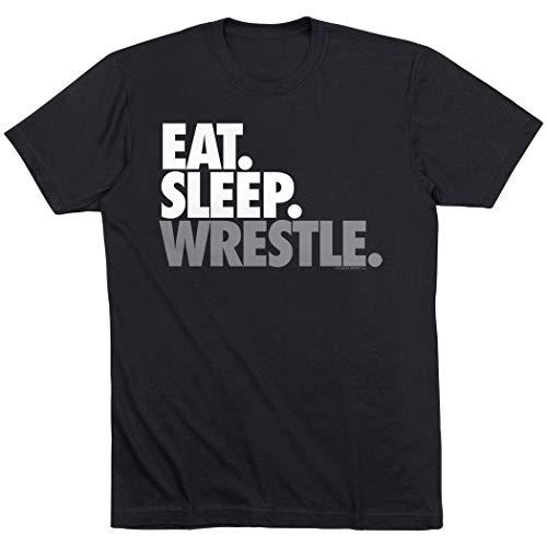 Eat Sleep Wrestle T-Shirt | Wrestling Tees by ChalkTalkSPORTS | Black | Youth X-Large