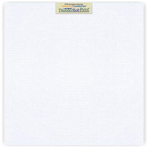 25 Bright White Linen 80# Cover Paper Sheets - 12X12 Inches Square Scrapbook Album Size - 80 lb/Pound Card Weight - Fine Linen Textured Finish Cardstock ()