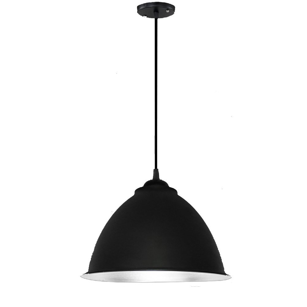 Simple chandelier, industrial style, creative personality, modern industrial and mining lamp cover bar, single head restaurant, hairdressing shop, office lamp (Color : Black)