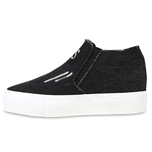 Stiefelparadies Damen Sneakers Slipper Slip-Ons Denim Nieten Schuhe Flandell Schwarz Pailletten