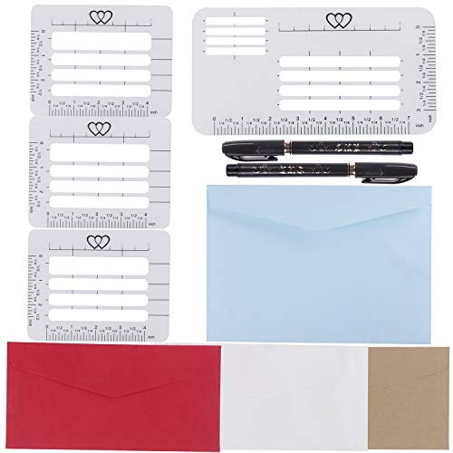 AOPOO 4 Styles Envelope Addressing Guide Addressing Stencil Templates for 4 Assorted Colors Envelopes with 2 Size Brush Pens for Making Thank You Cards ()