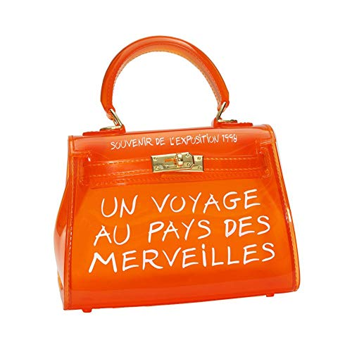 Women Clear Bag Jelly PVC Purse Transparent Handbag Tote Bags (Small, Orange)