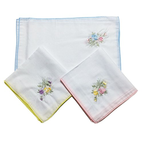 OWM Handkerchief 12 Pack Vintage Classic Rose Embroidered Handkerchief Women - Order Bulk Gifts
