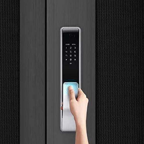 電子ドアロック スマート自動指紋スライドロックアプリの制御パスワードキーレスドアロック 電子錠 (Color : Black, Size : One size)