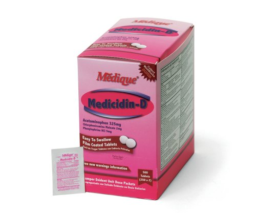 13 Medicidin-D, 250-Packets of 2, Cold and Allergy Relief (5 Mg Tablets Box)