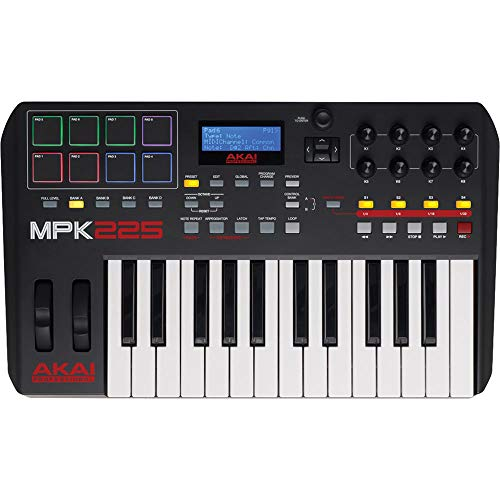 Akai Professional MPK225 | 25-Key USB MIDI Keyboard & Drum Pad Controller with LCD Screen (8 Pads / 8 Knobs), VIP…