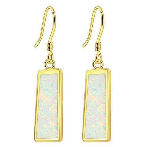 Sinlifu 925 Silver Yellow Gold Plated Rectangle Opal White Dangle Earrings (White+yellow Gold ()