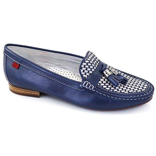 Femmes En Cuir Véritable Fabriqué Au Brésil Wall Street Tassle Mocassins Marc Joseph Ny Chaussures De Mode Saphir Bleu Blanc Armure