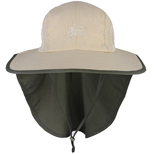 G4Free Outdoor Sun Protection Fishing Cap with Neck Flap, Packable Wide Brim Anti-UV Sun Hat UPF for Travel Fishing Camping Hiking Hunting Safari (Khaki)