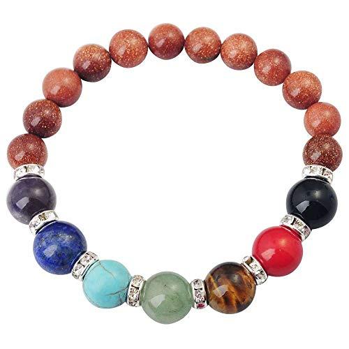 - Healing Dowsing Reiki Gem Stone 7 Chakra Matte Agatlavabracelet Beadsyoga Jewelry for Women Men