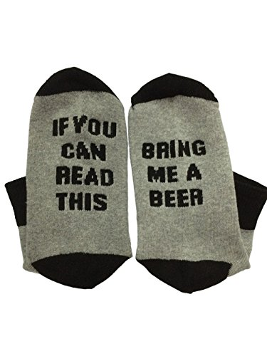 Cotton Unisex Socks (Must Rose Unisex Christmas Cotton Socks If You Can Read This Bring Me A Beer Socks (One Size, Black)-Knit-in Word, not)