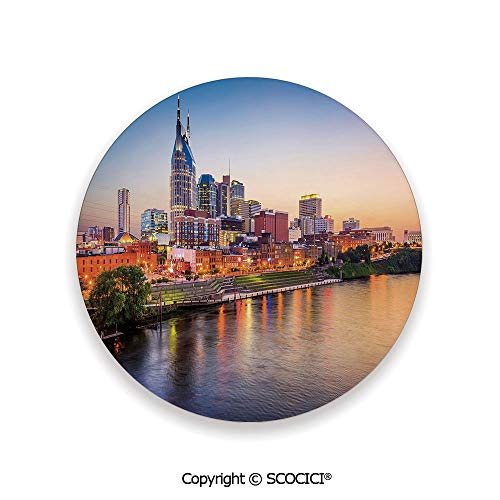 Ceramic Coasters with Cork Base, Prevent Furniture from Dirty and Scratched, Suitable for Kinds of Mugs and Cups,United States,Cumberland River Nashville Tennessee Evening,3.9