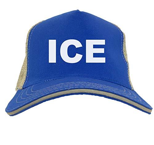 ICE Supporter - Immigration Twill Soft Mesh Trucker Hat (Royal Blue/Khaki)]()